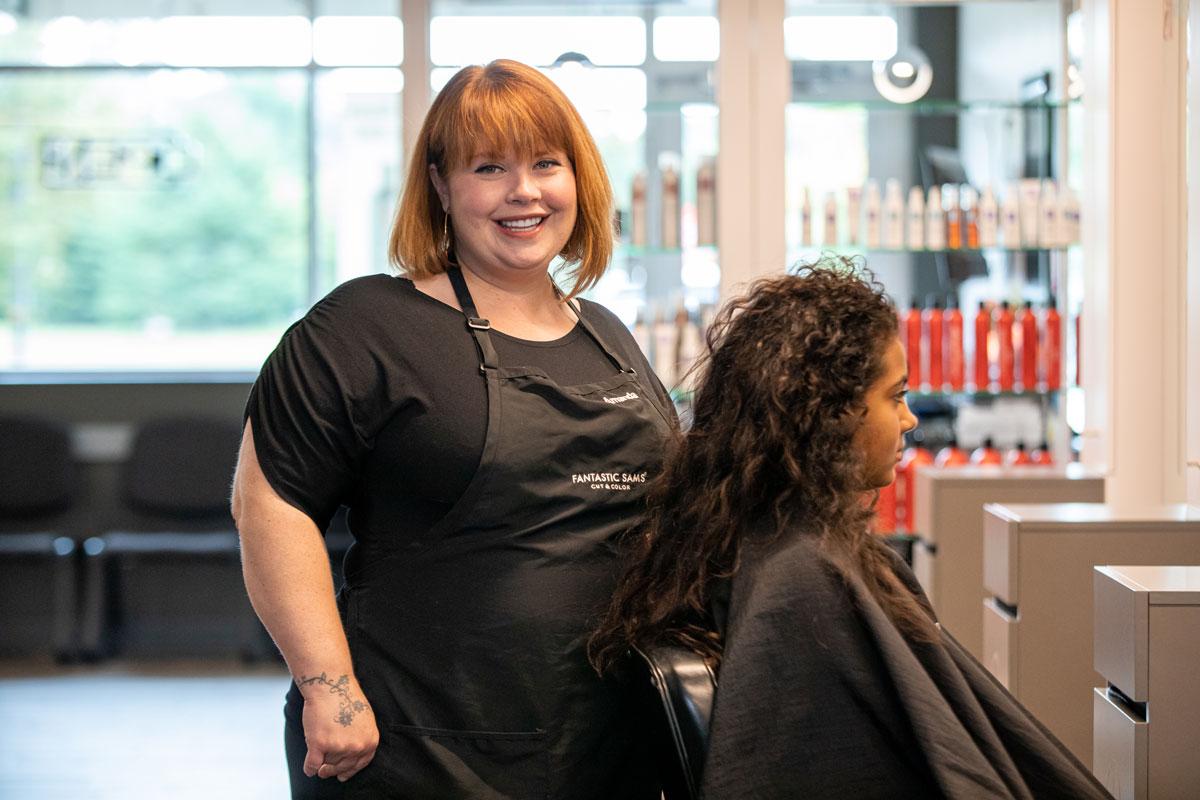 Amanda Portrait shot while cutting hair