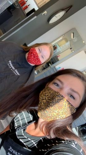 stylists working with masks